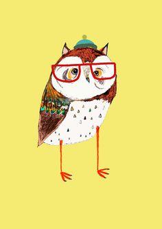Fresh Owl. Limited edition art print by Ashley Percival. Children Decor, Nursery art, kids art.. $40.00, via Etsy.