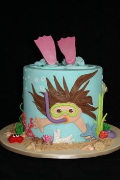 "Ocean. Sea. Beach. Diver cake. ""Under the Sea"" theme cake on cakesdecor by PamAGK. Pam, Sydney Australia, www.facebook.com/applegum."