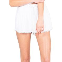 Kendall + Kylie Fray-Hem Shorts ($54) ❤ liked on Polyvore featuring shorts, white, white drawstring shorts, draw string shorts, white shorts and drawstring shorts
