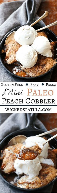 Mini Paleo Peach Cobbler! This easy Paleo dessert is perfect for two! The pastry is light and fluffy just like normal cobbler | wickedspatula.com