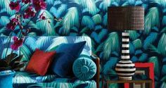 """1. Matthew Williamson's Tropicana in deep shades of petrol, emerald and turquoise shouts """"land ahoy"""" louder than any other print featured. Layer the look on to furnishings and walls for a more-is-more sense of drama. The paper costs €100 per roll at Donnybrook-based Kevin Kelly interiors.  Kevinkellyinteriors.ie"""