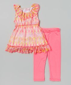 Look at this #zulilyfind! Girls Luv Pink Fuchsia Tribal Yoke Tunic & Leggings - Toddler & Girls by Girls Luv Pink #zulilyfinds
