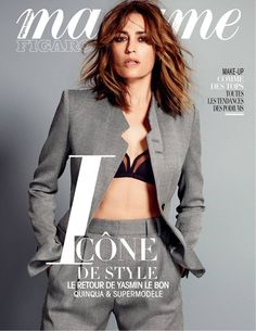 Yasmin Le Bon wearing a suit jacket and pant from the Giorgio Armani New Normal collection