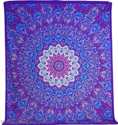 Large Mandala Tapestry Star Psychedelic Purple by BhismaClothings