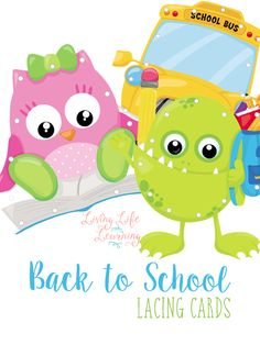 Practice your fine motor skills with these fun back to school lacing cards. This may be fun for the card ride to school for the girls.