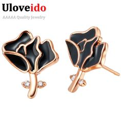 Find More Stud Earrings Information about Women's Jewelry Flower Rose Gold Carnation Earrings for Women 2016 Mother's Day Gift Zircon Black Earrings Classic CZ Studs R655,High Quality earrings bangles,China earring diamond Suppliers, Cheap earring love from D&C Fashion Jewelry Buy to Get a Free Gift on Aliexpress.com