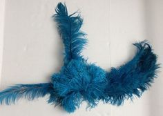 VTG Real OSTRICH FEATHER Showgirl Headdress w.Sequined Headpiece & Blue Feathers