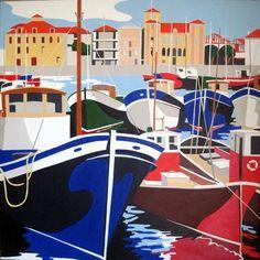 Saint Jean de Luz, les thoniers Funny Posters, Cartoon Background, City Illustration, Basque Country, Surf Art, Vintage Travel Posters, Map Art, Street Art, Painting