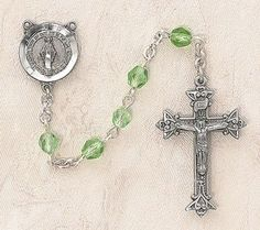 $28.74 + $9.25 S - Heritage Italian Catholic Peridot (August) Czech Birthstone Rosary Silver Oxidized 5mm Crystal Bead 1¼ Crucifix by Creed Jewelry, http://www.amazon.com/dp/B00CR6E8TE/ref=cm_sw_r_pi_dp_-QmKrb01E53NP