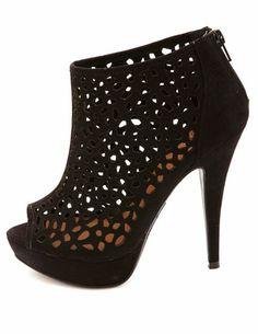 Laser-Cut Peep Toe Platform Heels: Charlotte Russe