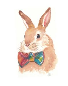 Rabbit Watercolor - Original Painting, Bowtie, Animal Illustration.