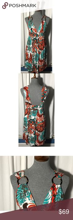 Milly dress! EUC. Beautiful dress by Milly of New York. Gorgeous print. Adorable ring feature on straps. Side zip. Size: Small. Milly Dresses