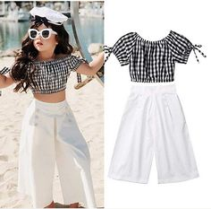 Cheap Price 2019 Summer Girls Clothing Set Baby Kids Clothes Suit Children Short Sleeve Plaid T-Shirt Crop Top+Pants roupas infantil meninas Dresses Kids Girl, Little Girl Outfits, Kids Outfits, Cute Outfits, Batman Outfits, Formal Outfits, Rock Outfits, Emo Outfits, Baby Girl Fashion