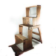 Antik træstol, der kan laves om til trappestige - Hel unik og super spændende!