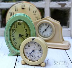 vintage alarm clocks, most celluloid Art Nouveau, Art Deco, Antique Clocks, Vintage Clocks, Tick Tock Clock, Vintage Antiques, Vintage Items, Cool Clocks, Old Watches