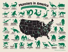 Cryptozoology Map via International Cryptozoology Museum Store. Click on the…