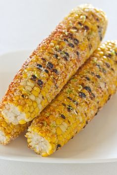 Grilled Corn on the Cob with Chili and Lime . just be sure you're not getting GMO (genetically modified organism) corn and then enjoy this Grilled Corn on the Cob! I Love Food, Good Food, Yummy Food, Tasty, Grilling Recipes, Cooking Recipes, Healthy Recipes, Healthy Corn, Vegetable Dishes
