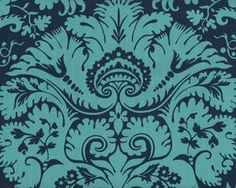 Patchworkstoff BELLE ACANTHUS, Schablonen-Ornamentblüten, gedecktes petrol-dunkelblau