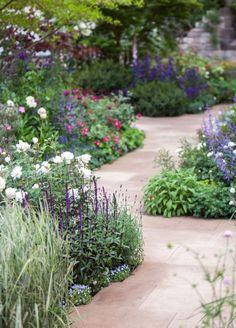 Varied plants for a border Unique Gardens, Back Gardens, Small Gardens, Beautiful Gardens, Outdoor Gardens, Garden Borders, Garden Paths, Garden Landscaping, Garden Stones