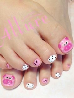 Fails art facile pieds ideas for 2019 Girls Nail Designs, Pedicure Designs, Manicure E Pedicure, Toe Nail Designs, Pig Nail Art, Pig Nails, Little Girl Nails, Girls Nails, Nail Diamond