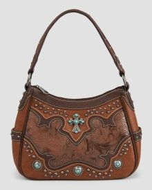 Tooled Faux Leather Hobo Bag with Turquoise Stone Details, Main View