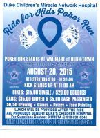 Erwin, NC - Aug. 29, 2015: Ride for Kids motorcycle Poker Run. This event will benefit Duke Children's Miracle Network Hospital.