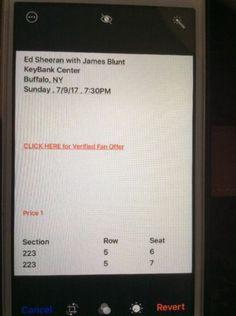 #tickets 2 Tickets Ed Sheeran Concert 7/9/2017 KeyBank Center Buffalo, N.y please retweet