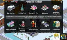 Simpsons Tapped Out - My Springfield - Completed Christmas Prizes