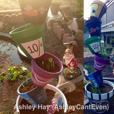 Free style painted Alice In Wonderland pots- summer 15'. Alice themed garden/pond (credit: Ashley Hay) Acrylic paint, weather protectant sealant, stacked with a tall rebar. Next will be Nightmare Before Christmas! Follow my board to see all my creations.