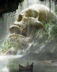 srrealizm art Fantasy Art Watch Skull Cave by Quentin Mabille Dark Fantasy Art, Fantasy Kunst, Fantasy Concept Art, Fantasy Artwork, Final Fantasy, Elves Fantasy, Beautiful Fantasy Art, Medieval Fantasy, Fantasy Art Landscapes