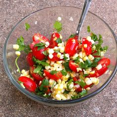 fresh corn straight off the cob, grape tomatoes, cilantro, and lime juice. so simple!