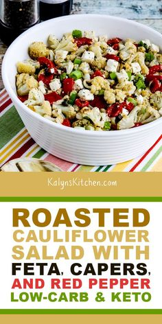 I loved the Greek flavors in this Roasted Cauliflower Salad with Feta, Capers, and Red Pepper and this tasty low-carb salad is great either warm or cold! Tasty Cauliflower, Roasted Cauliflower Salad, Feta Salat, Soup Appetizers, Vegetarian Recipes, Healthy Recipes, Keto Side Dishes, Healthy Salads, Vegetable Dishes