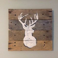 Silhouette of a Deer,14x14,Pallet Art,wilderness,buck,rustic wall art,on pallet wood,Hand painted,for log cabin decor,Man Cave,Woodsy on Etsy, $50.00
