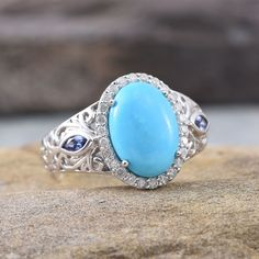 10K White Gold Arizona Sleeping Beauty Turquoise, Tanzanite, and Diamond Ring