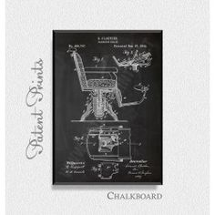 Barbers Chair 1892 Patent Print