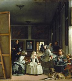 Diego Velazquez, 'Las Meninas' (1656). The complex spatial relations of this work have fascinated people for centuries.  The artist looks at us while we look at princess Margarita in her white dress.  The king and queen are reflected in the distant mirror.  Either you, the viewer, are the king and queen, or you're standing next to them.  Painting himself painting the painting we are looking at (aahh!), Velasquez is saying 'painters are as supreme as royalty!'  May 7, 2012