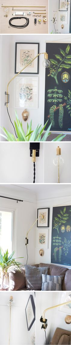 Lámpara DIY con piezas de latón