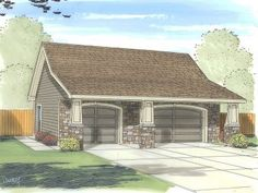 Plan - Garage Plans and Garage Blue Prints from The Garage Plan Shop 3 Car Garage Plans, Garage Apartment Plans, Garage Ideas, Garage Addition, Stone Facade, House Plans And More, Craftsman Style House Plans, Garage House, Garage Doors