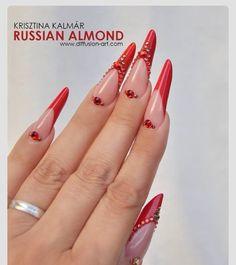 Russian Almond, Red  Nails, unhas de acrílico, acrylic nails, gel nails, nail art