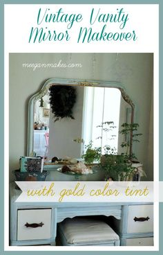 My Vintage Mirror With Gold Tint was easy to makeover with Fusion Mineral Paint Gold Color Tint. It looks great in our bedroom with our vintage furniture.