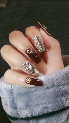 Matte Pink Nails, Matte Nail Art, Red Nails, Swag Nails, Acrylic Nails, Nail Art Rhinestones, Rhinestone Nails, Beautiful Nail Designs, Beautiful Nail Art