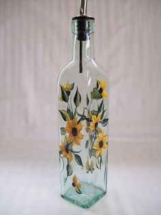 Oil decanter hand painted with sunflowers