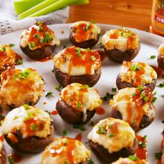 Buffalo Stuffed Mushrooms, If you liked our buffalo chicken pull-apart bread, you're going to LOVE these mushrooms. Each tiny bite is full of flavor and bound to impress all of . Gluten Free Puff Pastry, Mushroom Recipes, Buffalo Chicken, Food Items, Appetizer Recipes, Mini Appetizers, Wedding Appetizers, Tapas Recipes, Clean Eating Snacks