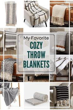 My favorite modern cozy throw blankets for throughout your home. From faux fur, to wool, to cotton with tassels these decorative blankets are the best. I also share how to use throw blankets as decor! #CozyBlankets #ThrowBlankets #CozyThrows #Throws #Blankets  via @BrightGreenDoor