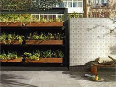terrasse avec carrelage effet textile par Ceramica Fondovalle