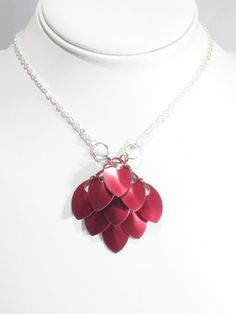 Chainmail Pendant Necklace Red Pendant Red by VeeVeesCreations
