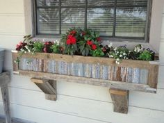 Handcrafted Rustic Window Box Planters out of reclaimed cedar and tin for standard window. Unique Garden, Garden Art, Garden Design, Box Garden, House Design, Rustic Planters, Window Planter Boxes, Planter Ideas, Metal Window Boxes