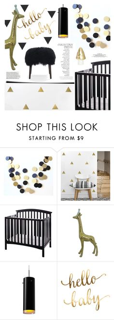 """""""Black and gold nursery..."""" by helia on Polyvore featuring interior, interiors, interior design, home, home decor, interior decorating, By Terry, Dream On Me, Bruck and Mitchell Gold + Bob Williams"""