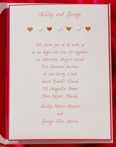 Hearts in bold, vibrant colors are printed on this cute invitation. A simple hot pink border frames your wording. Heart Wedding Invitations, Photo Cards, Holiday Cards, Vibrant Colors, Hot Pink, Frames, Hearts, Printed, Simple