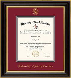 USC Upstate Diploma Frame-Satin Black-w/USCU seal-garnet/black – Professional Framing Company